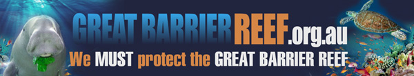 Colourful banner showing the great barrier reef blog logo, dugong and reef life
