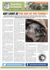 Australians for Animals September 2021 Newsletter Cover